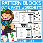 Pattern Block Cut & Paste Worksheets: Earth Day ~Digital Download~