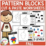 Pattern Block Cut & Paste Worksheets: Fall ~Digital Download~