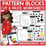 Pattern Block Cut & Paste Worksheets: Independence Day ~Digital Download~