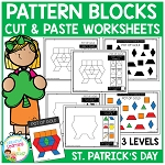 Pattern Block Cut & Paste Worksheets: St. Patrick's Day ~Digital Download~