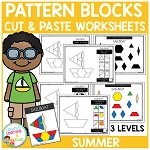 Pattern Block Cut & Paste Worksheets: Summer ~Digital Download~