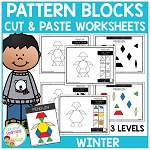 Pattern Block Cut & Paste Worksheets: Winter ~Digital Download~