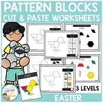 Pattern Block Cut & Paste Worksheets: Easter ~Digital Download~