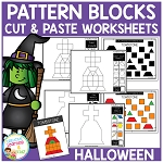 Pattern Block Cut & Paste Worksheets: Halloween ~Digital Download~