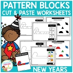 Pattern Block Cut & Paste Worksheets: New Years ~Digital Download~