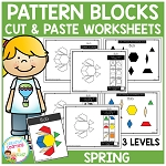 Pattern Block Cut & Paste Worksheets: Spring ~Digital Download~