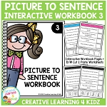 Picture to Sentence Interactive Workbook + Worksheets: Workbook 3 ~Digital Download~