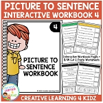 Picture to Sentence Interactive Workbook + Worksheets: Workbook 4 ~Digital Download~