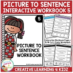 Picture to Sentence Interactive Workbook 5 ~Digital Download~