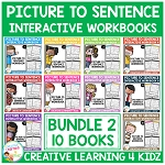 Picture to Sentence Interactive Workbook + Worksheets: Bundle 2 ~Digital Download~