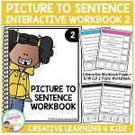 Picture to Sentence Interactive Workbook + Worksheets: Workbook 2 ~Digital Download~