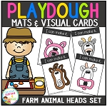 Playdough Mats & Visual Cards: Farm Animal Heads ~Digital Download~