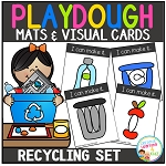 Playdough Mats & Visual Cards: Recycling Earth Day Set ~Digital Download~