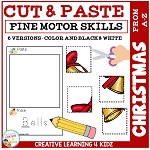 Cut and Paste Fine Motor Skills Puzzle Worksheets: Christmas Alphabet ~Digital Download~
