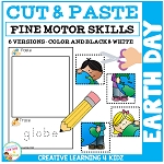 Cut and Paste Fine Motor Skills Puzzle Worksheets: Earth Day ~Digital Download~