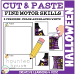 Cut and Paste Fine Motor Skills Puzzle Worksheets: Halloween ~Digital Download~