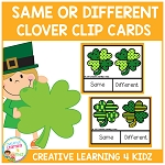 Same or Different St. Patrick's Day Clover Clip Cards ~Digital Download~