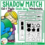 Shadow Matching Earth Day Cut & Paste Worksheets ~Digital Download~