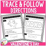 Trace & Follow Directions Worksheets: Valentine's Day ~Digital Download~