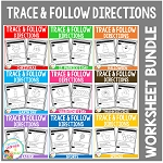 Trace & Follow Directions Worksheets: Bundle ~Digital Download~