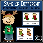 Same or Different Christmas Stocking Clip Cards ~Digital Download~