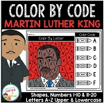 Color By Code Worksheets: Martin Luther King Day ~Digital Download~