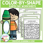 Color By Shape Worksheets: Earth Day ~Digital Download~