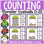 Counting Clip Cards 0-20: Halloween Monster Eyeballs  ~Digital Download~