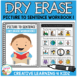 Dry Erase Picture to Sentence Workbook 1 ~Digital Download~