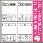 Equal and Not Equal Parts of Shapes Cut & Paste Sorting Worksheets ~Digital Download~