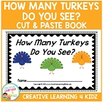 Thanksgiving How Many Turkeys Do You See? Cut & Paste Book ~Digital Download~