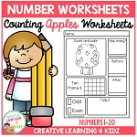 Counting & Number Worksheets 1-20: Apples ~Digital Download~
