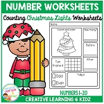 Counting & Number Worksheets 1-20: Christmas Lights ~Digital Download~