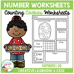 Counting & Number Worksheets 1-20: Cookies ~Digital Download~