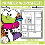 Counting & Number Worksheets 1-20: Halloween Eyeballs ~Digital Download~