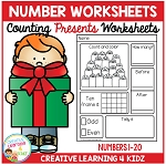 Counting & Number Worksheets 1-20: Presents ~Digital Download~