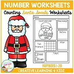 Counting & Number Worksheets 1-20: Santa Swirls ~Digital Download~