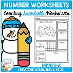Counting & Number Worksheets 1-20: Snowballs ~Digital Download~