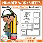 Counting & Number Worksheets 1-20: Thanksgiving Turkey Feathers ~Digital Download~
