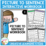 Picture to Sentence Interactive Workbook + Worksheets: Workbook 1 ~Digital Download~