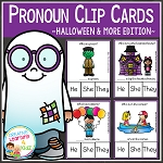 Pronoun Clip Cards: Halloween & More ~Digital Download~