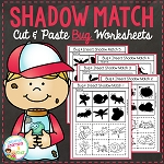 Shadow Matching Bug Cut & Paste Worksheets ~Digital Download~