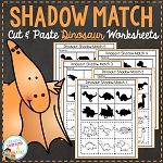 Shadow Matching Dinosaur Cut & Paste Worksheets ~Digital Download~