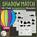 Shadow Matching Transportation Cut & Paste Worksheets ~Digital Download~