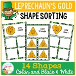 Shape Sorting Mats: Leprechaun's Gold St. Patrick's Day~Digital Download~
