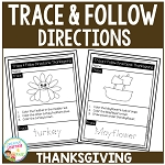 Trace & Follow Directions Worksheets: Thanksgiving ~Digital Download~