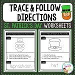 Trace & Follow Directions Worksheets: St. Patrick's Day ~Digital Download~