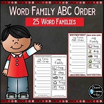 Word Family ABC Order Worksheets 25 Word Families ~Digital Download~