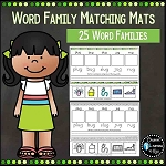 Word Family Matching Word to Picture Mats 25 Word Families ~Digital Download~
