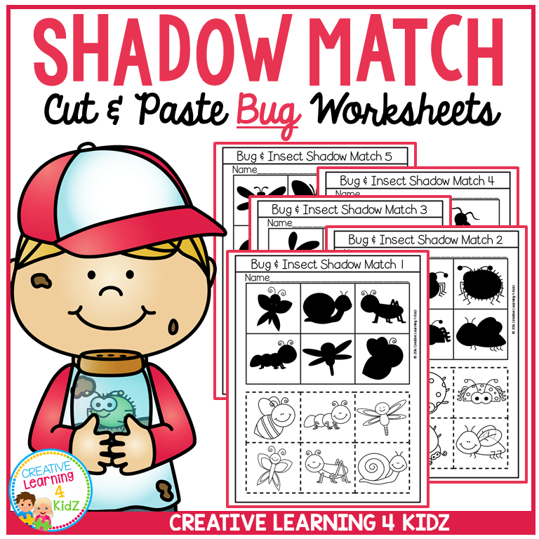 Shadow Matching Bug Cut & Paste Worksheets ~Digital Download~